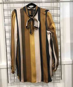Mustard strip shirt with neck tie