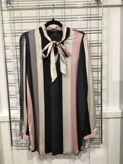 Black & Pink stripe shirt with neck tie