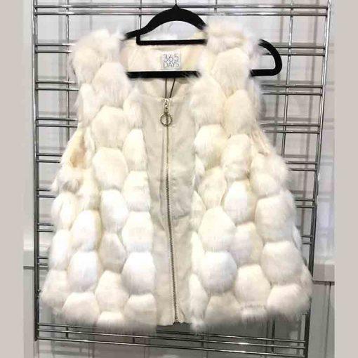 Cream fur vest