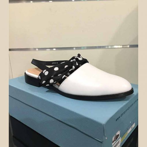 White sling back with spotted bow