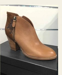 tan leater boot with pony heel