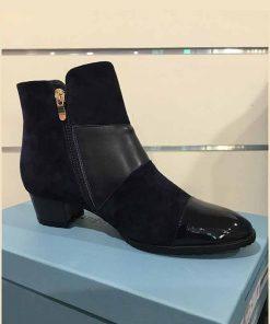 Navy boot with low heel