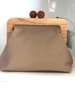 Stone clutch purse with wooden clip